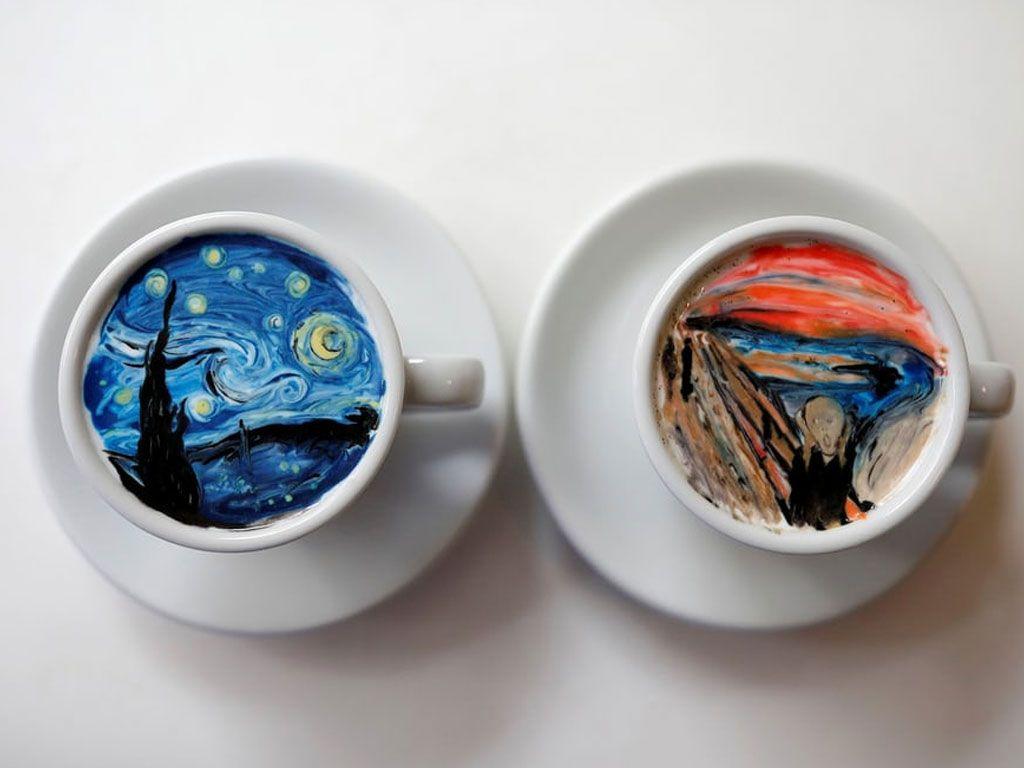 Cet artiste sud-coréen peint des décors somptueux sur ses cafés