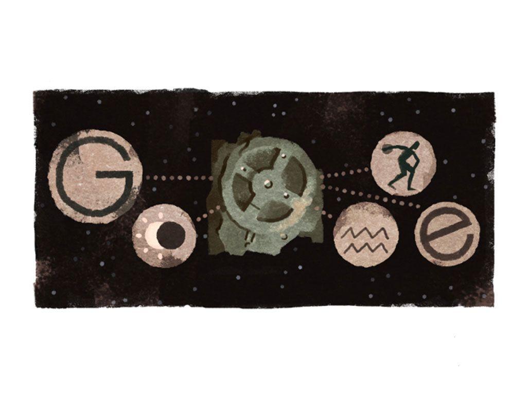 17 mai 2017 : un doodle pour célébrer la découverte de la Machine d'Anticythère
