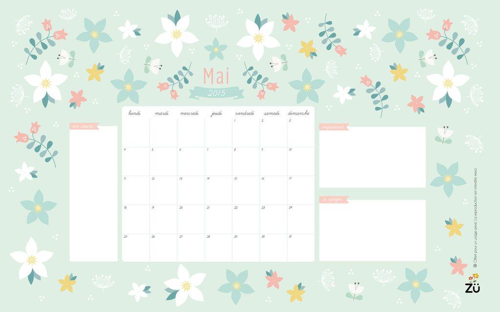 5 calendriers pour le mois de mai à imprimer