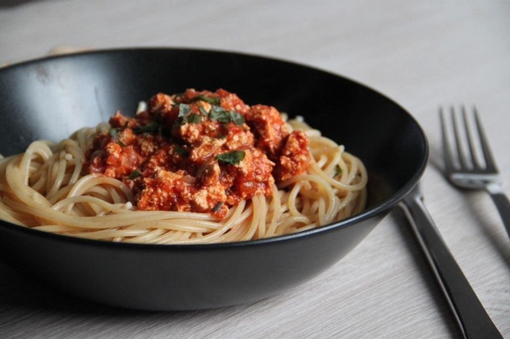 Des spaghettis à la bolognaise végétarienne