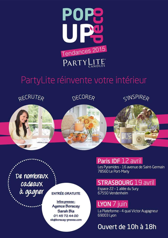 La première édition du POP UP DECO de PARTYLITE, c'est le 12 AVRIL
