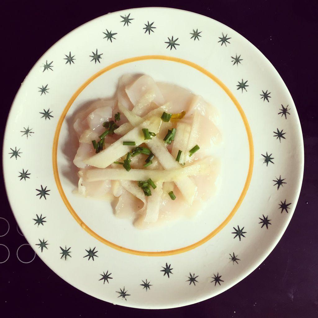 Ma recette de Carpaccio de coquilles Saint-Jacques au citron vert et aux poires