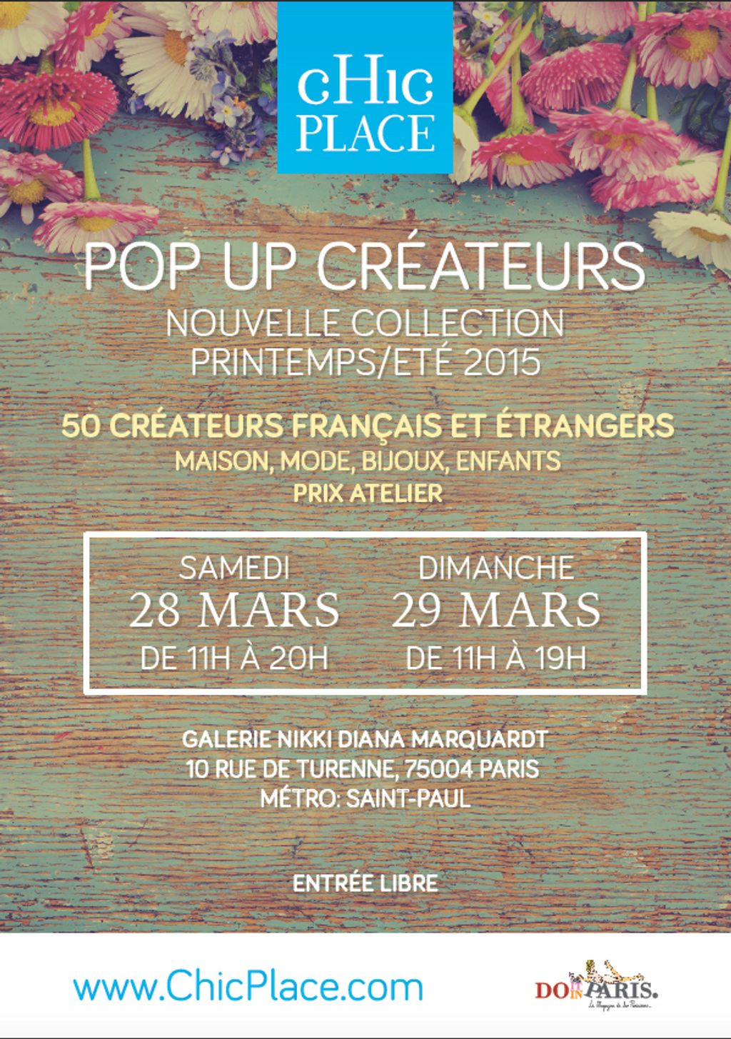 POP-UP STORE CHICLPLACE.COM LES 28 ET 29 MARS 2015