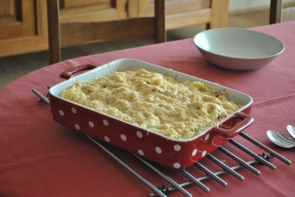 Un gratin de pâtes au fromage