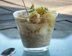 Pommes de terre caramélisés et sa crème d'aubergine à l'huile d'olive