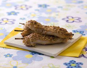 Brochettes de poulet mariné au soja et sésame