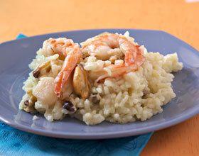 Risotto aux pétoncles, crevettes et moules