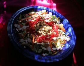 Salade fraîche à la mozzarelle marinée aux deux vinaigres et aux herbes