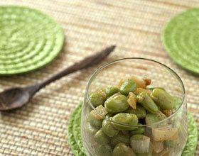 Verrine de fèves au safran