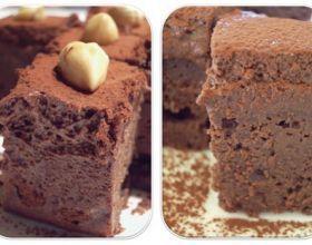 Carrés de mousse au chocolat au lait sur fondant au chocolat allégé