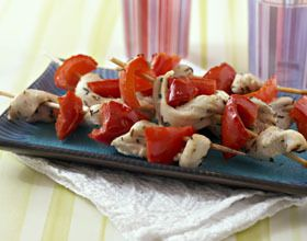Plat : brochettes de poulet mariné au citron et poivron