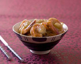 Wok de crevettes sauce piquante