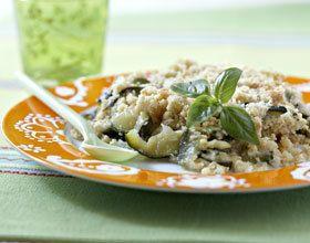 Crumble aux courgettes, parmesan et basilic