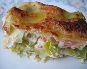 Lasagnes de saumon et poireaux