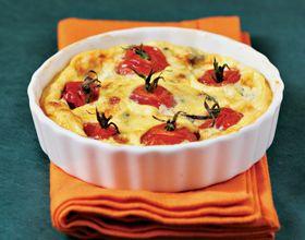 Légumes croquants ! : clafoutis aux tomates cerises et au roquefort