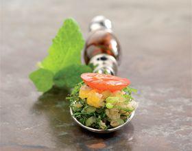 Cuillères apéritives : mascarpone à l'avocat et au citron vert
