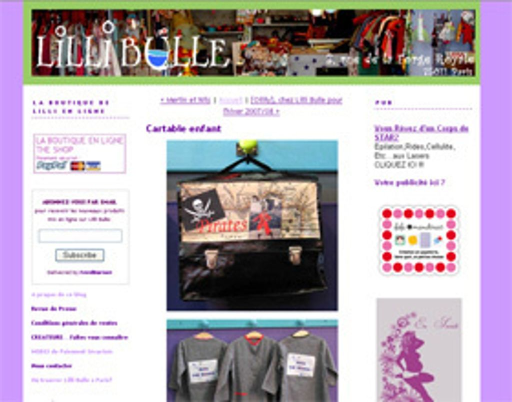 La boutique Lilli bulle a son blog